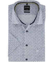 korte mouwen shirt wit geprint olymp modern fit