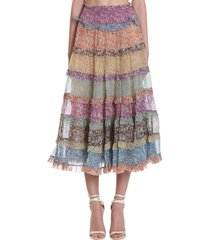 zimmermann camaby tiered m skirt in multicolor synthetic fibers