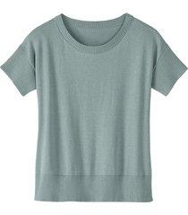 gebreide shirt met korte mouw van bio-katoen, gletsjer 44/46