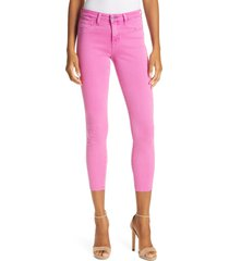 women's l'agence high waist skinny ankle jeans, size 31 - pink