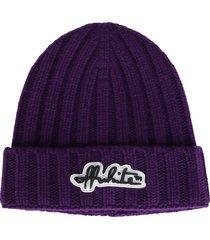 off-white purple wool beanie