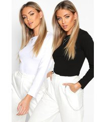 2 pack crew neck long sleeved top, blackwhite