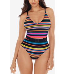 skinny dippers printed lucky charm belted one-piece swimsuit women's swimsuit