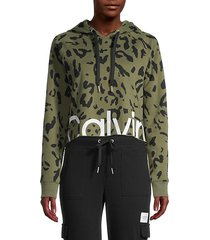 animal-print cropped cotton-blend hooded jacket