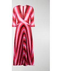 marco de vincenzo striped pleated dress