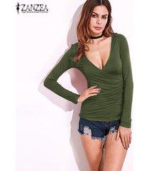 zanzea resorte de las mujeres blusas camisas con cuello en v bajo la manga larga del corte placas radiantes flaca delgada strech plus tamaño pullover verde del ejército -verde