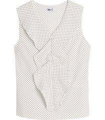 blusa con volante estampada color blanco, talla l