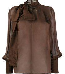 federica tosi tie neck semi-sheer blouse - brown