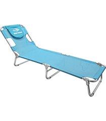 cadeira espreguiçadeira mormaii aluminio textilene azul belfix - tricae