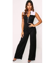 high neck zip pull ribbed jumpsuit, black