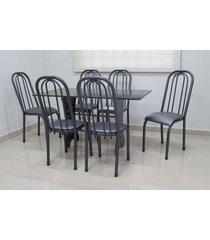 conjunto cozinha verona 1,40 com granito c/6 cadeiras roma alta açomix