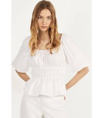 geplooide popeline blouse