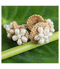 cultured pearl flower bracelet, 'floral garland in white' (thailand)