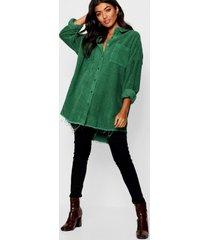oversized corduroy blouse met onbewerkte zoom, kaki