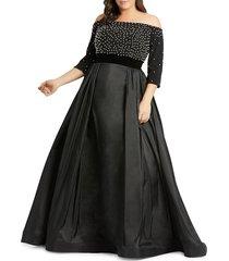 mac duggal women's plus off-the-shoulder faux pearl & taffeta ball gown - black - size 18 w