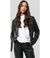 na-kd biker pu jacket - black