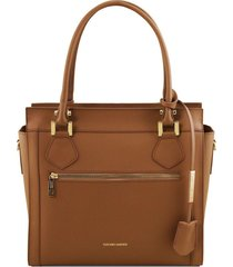 tuscany leather tl141644 lara - borsa a mano in pelle con zip frontale cognac