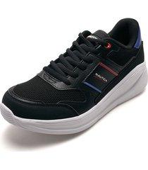 tenis lifestyle negro-blanco-azul nautica