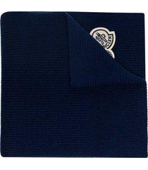 moncler logo patch scarf - blue
