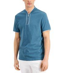 inc international concepts men's regular-fit ottoman stripe baseball-collar polo shirt, created for macy's