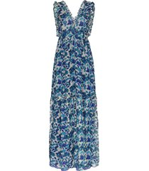 adriana degreas ruffle-trimmed floral-print silk-chiffon maxi dress -