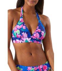 women's tommy bahaha bougainvillea reversible halter bikini top, size x-large - blue