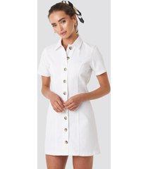 na-kd button up denim mini dress - white