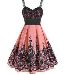 lace panel print dual strap retro cami dress