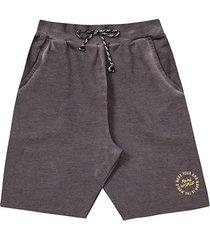 shorts infantil moletinho fakini liso bordado masculino
