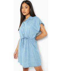 petite denim blouse jurk met touwtjes, light wash