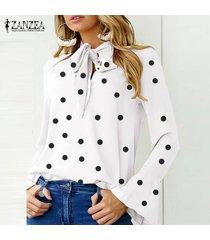 zanzea manga larga para mujer casual del lunar blusa de la gasa señoras de la oficina tapas de la camisa -blanco