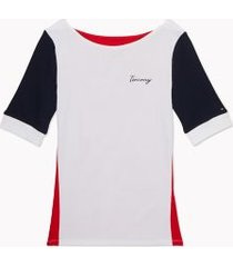 tommy hilfiger women's essential favorite boatneck t-shirt bright white / racing red / navy - xs