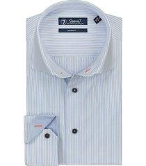 sleeve7 overhemd lichtblauw oxford wit gestreept modern fit