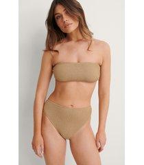 na-kd swimwear smocked high waist bikini panty - beige