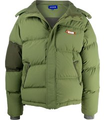 ader error panelled logo puffer jacket - green