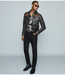 reiss diablo - leather jacket with snake-effect detail in black/orange, mens, size xxl