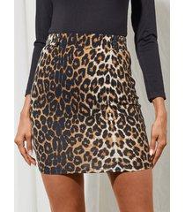minifalda de cintura alta de leopardo marrón de yoins