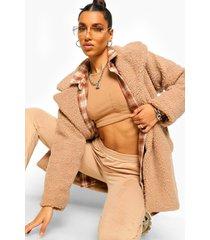 faux fur teddy jas met knopen, camel
