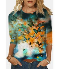 manica lunga o-collo con stampa farfalle plus camicetta in cotone per donna