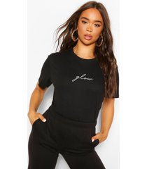 glow micro slogan t-shirt, black