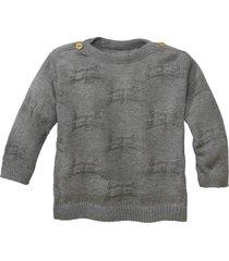 gebreide pullover van bio-katoen, grijs-gemêleerd 74/80