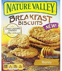 nature valley breakfast biscuits, honey, 5 pouches of 4 biscuits, 1.77 ounce per