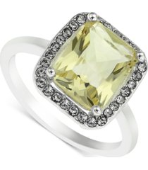 charter club silver-tone pave & square crystal ring, created for macy's