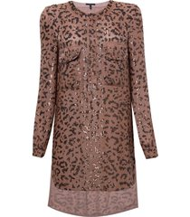 camisa rosa chá leopard estampado feminina (leopard print, gg)