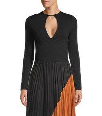 avantlook women's cutout long-sleeve crop top - black - size l
