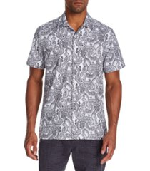 tallia men's slim-fit performance stretch paisley short sleeve camp shirt