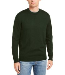 club room men's solid crew neck merino wool blend sweater, created for macy's