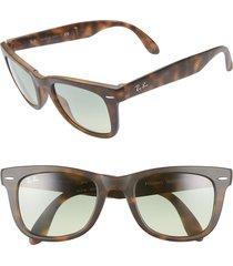 women's ray-ban 50mm wayfarer folding sunglasses - green/ havana gradient