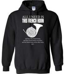 all i need is this french horn blend hoodie