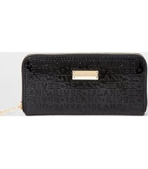 river island womens black patent ri embossed ziparound purse